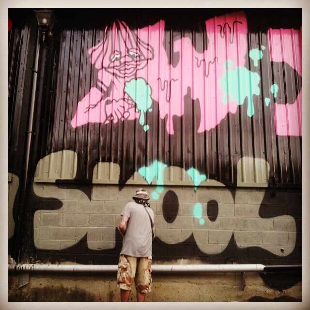 Banksy Street Art Tours Taiwan Yeah thats me throwing #icecream onto homeboy D! @dabs1yia #Dabs1 #Curly #YIA #stayinskoolfools #wutangclan #dumbdonald #powwowtaiwan @powwowtaiwan