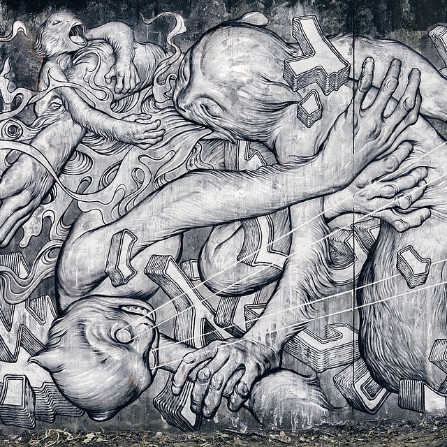 Banksy Street Art Tours Taiwan Paradise. 🙈🙉🙊 Housepaint, Lacquer, Spraypaint, and Oil on Concrete, 43\' x 17\'. Detail of my mural for @powwowtaiwan at the Taipei Zoo, wherein Taiwanese macaques tumble in a paradise/prison of man\'s making. 