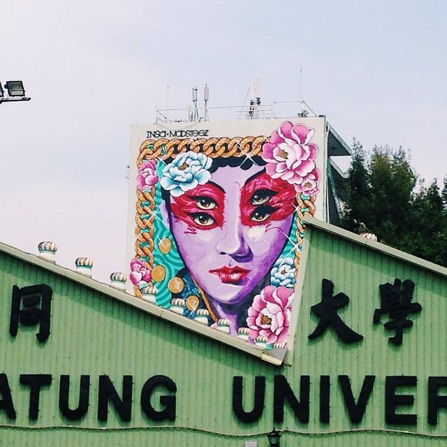 Banksy Street Art Tours Taiwan Spotted @powwowtaiwan #mural #taitunguniversity #powwowtaiwan #taipeiart #nappaheadtravel #spotted