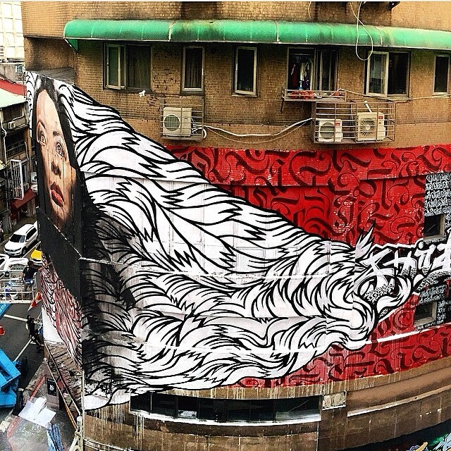 Banksy Street Art Tours Taiwan SO G O O D 🎨💗👌 I had to repost and share. Artists @pro_gress, @kameahadar, and @reachstudio with this amazing collab for @powwowtaiwan #powwowtaiwan